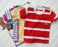 2 to 4 years random color striped unisex children's T-Shirts tops clothing summer new uhki035