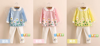 1 pieces baby girls clothing set T shirt+ pants for 3-8 Sunflower Girls baby chick embroidered long-sleeved suit children
