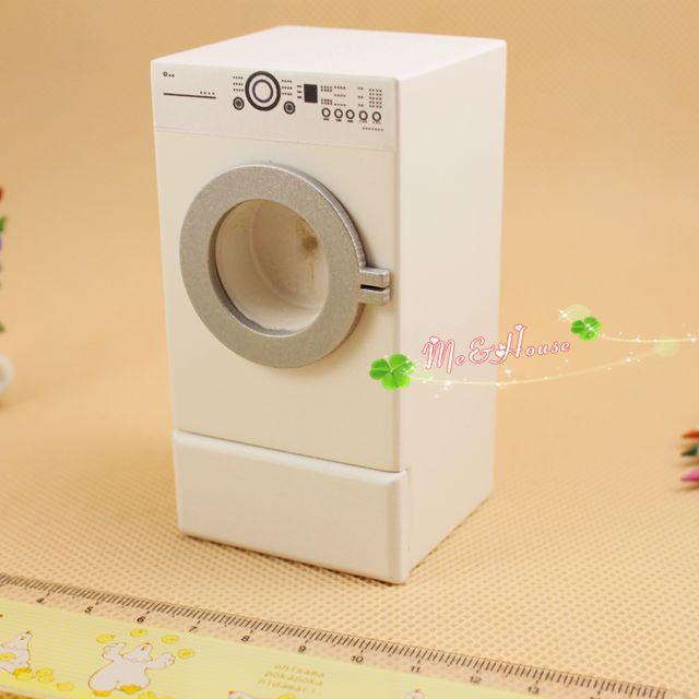 recém-chegados 1/12 escala casa de boneca de madeira branca mini máquina de lavar dollhouse móveis em miniatura frete grátis(China (Mainland))