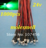 Free shipping 1000pcs 5mm Flat Top Green LED Lamp Light Set Pre-Wired 5mm 24V DC Wired 5mm 24v big/wide angle green led