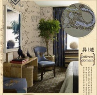 Stereo style wall paper non-woven embroidery-like coconut trees in Southeast Asia an elephant bed bedroom living room background