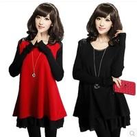 Plus size clothing 2014 mm one-piece dress woolen outerwear basic shirt