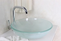 Contemporary glass sink Tempered Glass Vessel Sink With Duckbill  Faucet Set N-604
