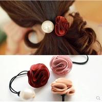 New South Korean version of Pearl Rose Hair Bands hair rope rope elastic ponytail headdress  flower jewelry