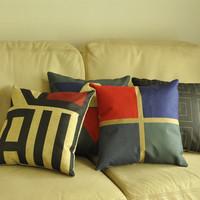 Multicolour stripe geometry petty bourgeoisie brief fluid 100% cotton pillow cushion cover car cushion