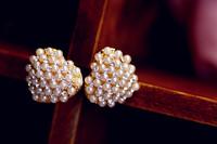 0008 love sweet natural pearl stud earring rhinestone earring earrings