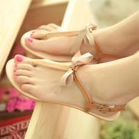 2014 New Europe Woman Sandals Flat Heel Bow Summer Sandal Platform Soft Leather Shoes Peep Toe Gladiator Ladies Buckle  Shose