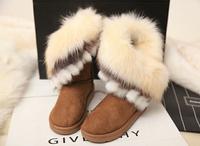 2015 HOT Style artificial fox rabbit Design fur inside women's snow boots women Winter shoes 4 color free shipping