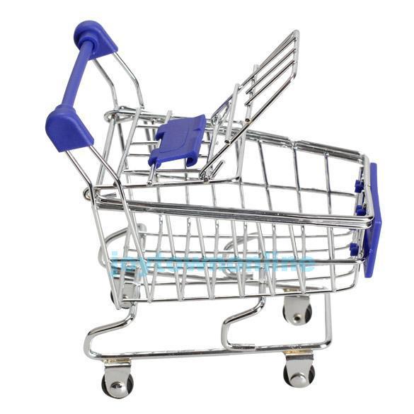 Mini Blue Shopping Handcart Mode Toy Storage Case Basket Fashion Home Organizer Toy Sundries Organizing Shopping Handcart BHU2(China (Mainland))