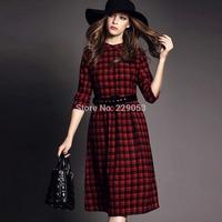 European leg 2014 new autumn and winter Scotland standing collar Slim Red plaid long dress  Woolen dress