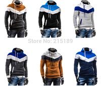 New Men Men's Cotton Long sleeve Jacket Hoodie Swearter Winter Autumn Clothing Collar Neck Cap Blue Grey Yellow White Sport
