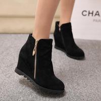 New 2014 Women's High Heeled Ankle Boots Winter Platform Wedges Martin Boots Flock Nubuck Leather Zipper Booty Botas Femininas