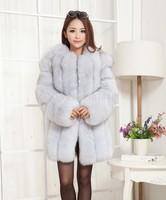 2014 Luxury Lady Fashion Genuine Natural Fox Fur Coat Jacket Winter Women  Fur Trench Outerwear Coats Long Sleeve VK1472