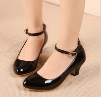 2014 New Women Work Shoes Black women Pumps High Heels Shoes Round Toe Patent  Leather Light and comfortable