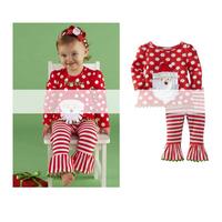 wholesale children's clothing Cartoon Santa Claus dot shirt + stripe trousers horn Christmas suit children girl suit
