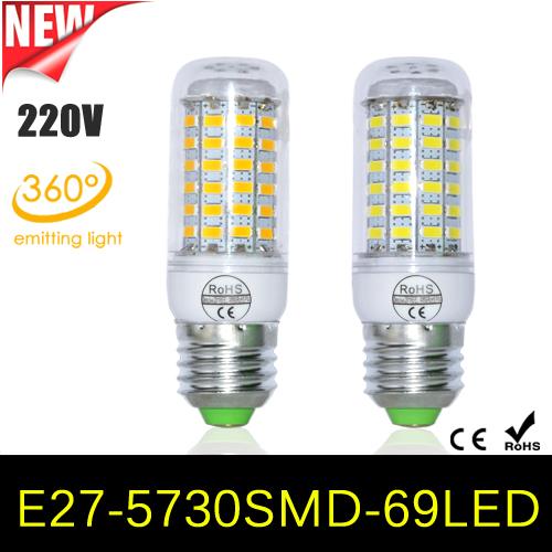 1Pcs 100% Full New 18W E27 LED Corn Bulb 69LEDs AC 220V Samsung SMD 5730 LED lamp Chandelier light for new year Home lighting(China (Mainland))