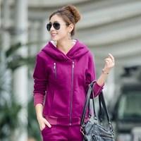 2014 New Autumn and Winter Women's Thick Fleece Cardigan Sweatshirt and Pants Set Hoodie Sports Suits Plus Size XXXL
