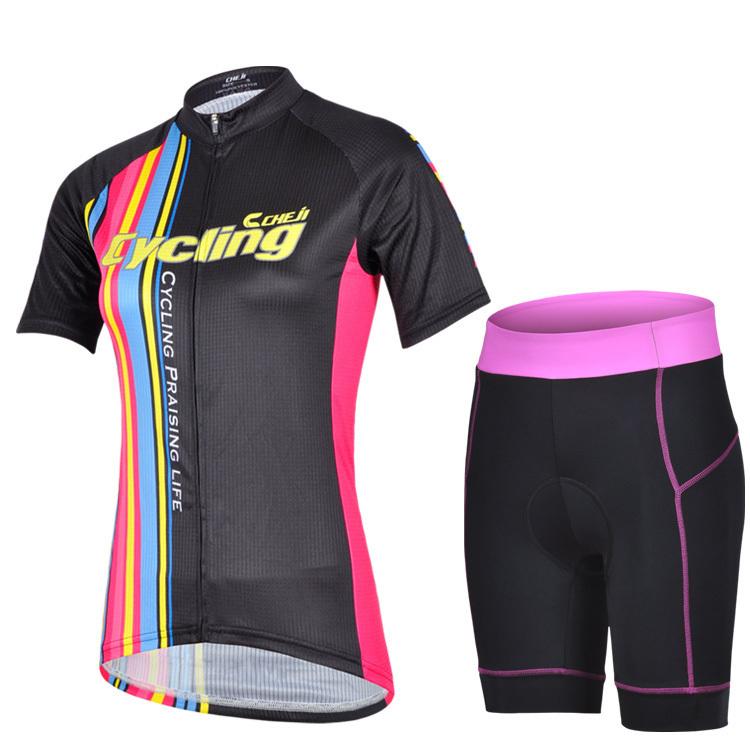 NEW Cheji car track lights cycling wear short suit female riding bike shorts suspenders cycling shorts T-shirt FREE SHIPPING(China (Mainland))