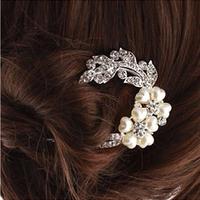 2015  new  6 PCS fashion bride wedding tiara, crystal flower hair fork hair clips