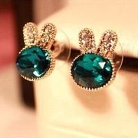 New South Korea Jewelry Blue Gem Diamond Stud Earrings delicate rabbit does  Earrings