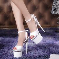 Women ultra high heels 19 cm platform pumps wedding party shoes women open toe high heels shoes women's evening sexy pumps