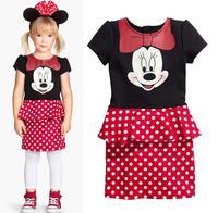 Retail Freeshipping 2015 New arrive Children Girls dot cartoon design dress children dresses baby girls clothing kid dress