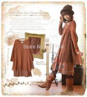 Mori girl line irregular loose long-sleeved vintage lace dress women clothes couro  cute lolita sarafan faldas vestido oncinha