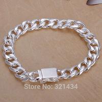 10MM 8 inches Fashion womens mens men women Jewelry 925 sterling Silver Bracelet Wide Chain Link Bracelets Bangles gift box KL37