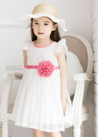 Retail new summer girl white lace dress with hot pink belt and flower ,kids girl party dress free shipping YM-12
