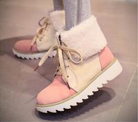 Women Vintage Ankle Snow Boots Winter Platform Boots Suede Nubuck Leather Shoe Thicken Plush Flat Heel Plus Size 4.5-10.5 Booty