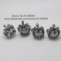 Wholesale (10 pieces/lot) 19*23mm Antique Silver Alloy 3D Crown Charms Jewelry Pendant Charms 7756