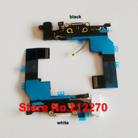 50pcs/lot New Headphone Audio Charger Charging Data USB Dock Port Flex Cable For iPhone 5S Black/White Wholesale