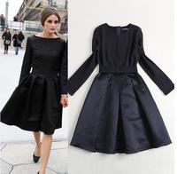 New 2014 Winter Women's Star Style Elegant Brief Embroidery Elastic Slim Waist Ball Gown Black Dress A248