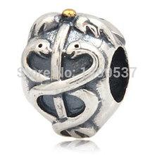 Snake BAS-33 Fits European Pandora Charm Bracelets Necklaces DIY Jewelry Vintage Genuine Antique 925 Sterling Silver Bead