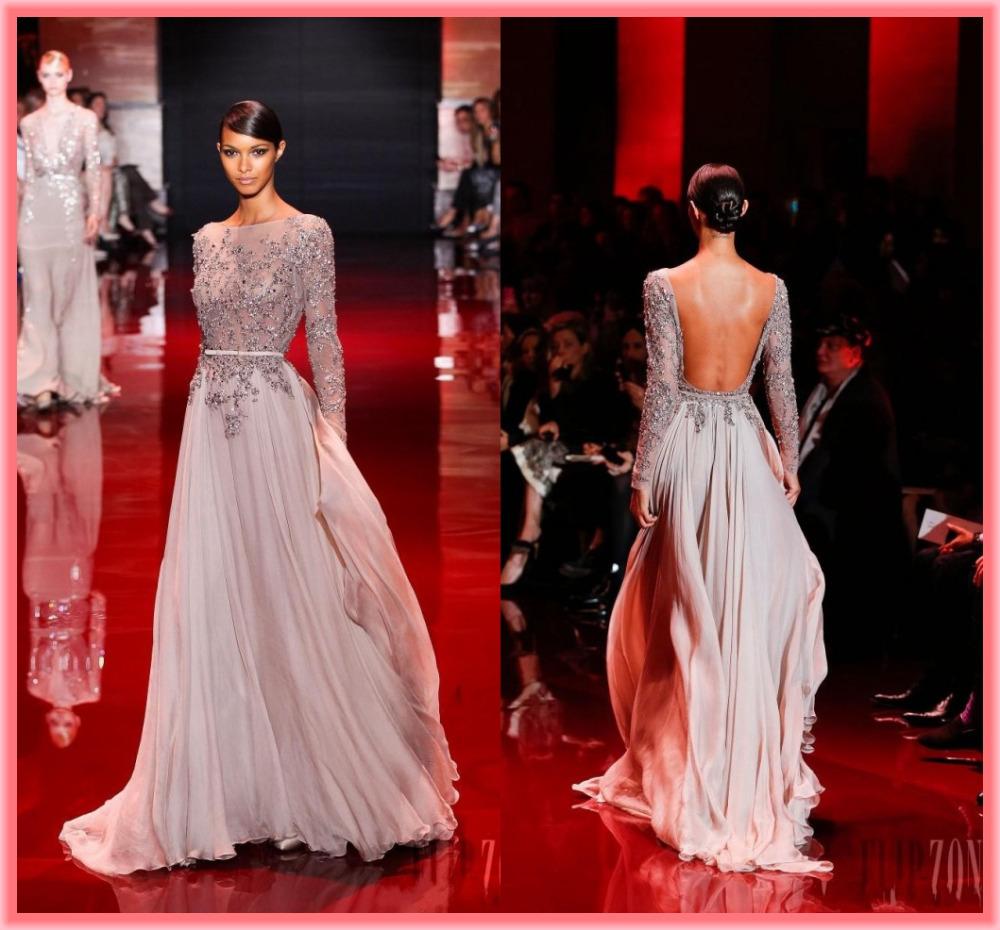 2015 New Zuhair Murad Elie Saab Evening Dresses Sexy Crystle Beaded Sheer Long Sleeves Bateall Sash Backless Long Formal Dress(China (Mainland))