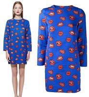NEW 2014 Stylish Lady sexy red lips blue straight mini dress women long sleeve O-neck base dress party club dress Plus size S-XL