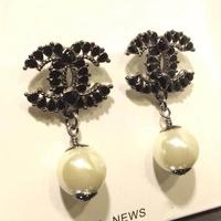 Trendy hot sale fashion brand channel Earrings,Alloy Oil Drip with Crystal 24k gold plated earrings for women Black earring