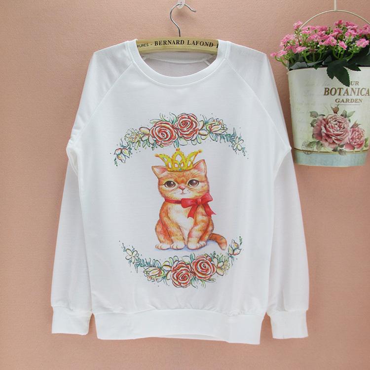 lovely princess cat pattern girls tracksuit Autumn & Spring sweatshirt Women European & American fashion pullovers free shipping(China (Mainland))