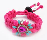 Statement Bracelet 2014 Acrylic Flower Charm Bracelet Hand - Woven Rope Bracelets & Bangles Adjustable bijoux women SL106868