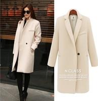 LBL1032 Women european winter one button long casual overcoat outerwear wool blend slim jackets casacos femininos coat jackets