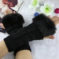 hot sale warm long sleeve Outdoor gloves Cute Hot Ladies Girls Mitten Knitting Wool Fur Halter Wrist Winter Warm Gloves