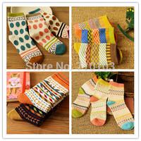 autumn japan style vintage dot stripes pattern knitted women socks