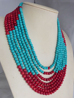 Free Shipping # 78942 Red Coral Bead Flower Necklace Turquoise Bead Necklace