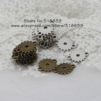 Wholesale (50 pieces/lot)  15*19mm Two Color Plated Small Gear Jewelry Connectors for Bracelets 7806