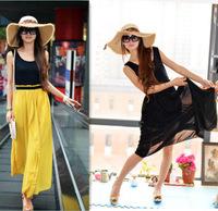 Women Summer Fashion Bohemian Style Long Dress Sleeveless Tank Chiffon Patchwork Long Beach Dress for Lady Wear High Fork WZA450