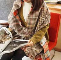 2014 New Hot Fashion style Winter Vintage Collar Neck Warm woman Scarf Scottish Plaid Wool Scarves