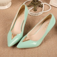 Korean edition fashion lady shoes high heels women pumps shoes V metal buckle pointed toe thin heels single shoes free shipping