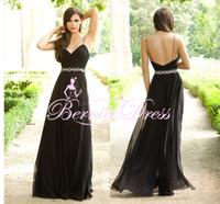 Vestidos De Fiesta V-neck Black Long Prom Dresses Backless Custom Made Floor Length Beaded Party Dress Cheap Evening Gown 2014