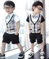 Retail children Boy's gentleman modelling sets Short sleeve suits 3pcs set shirt+ pants+tie Baby Clothes free shipping YM-12