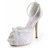 Fashion Pumps  EP11056-IP  Peep Toe Pleated Bow Inside Platform 5inch Stiletto Heel Satin Wedding Shoes